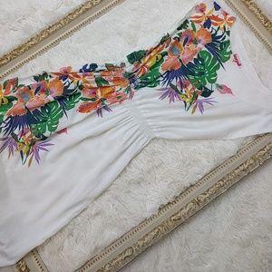 1980s Vintage white tropical print dress EUC sz s